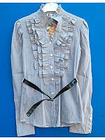 Блузка рубашка нарядная школьная для девочки 128-164