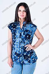Женская летняя блуза, короткий рукав синяя с принтом слоник