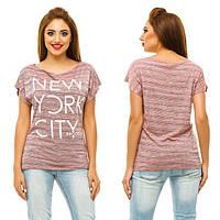 "Женская стильная футболка ""Разлетайка Меланж NEW YORK CITY"" в расцветках (46-1102)"