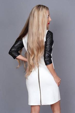 Стильное трикотажное женское платье с кожаными вставками по доступной цене., фото 3