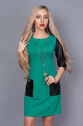 Стильное трикотажное женское платье с кожаными вставками по доступной цене., фото 2
