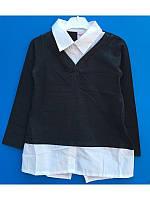 Рубашка  школьная обманка для девочки  122-140