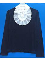 Красивая синяя блузка с белым жабо школьная для девочки 128-158