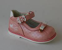 Туфли для девочек Шалунишка, арт. 100-118, розово-белый бантик, 19р