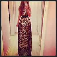 Платье микромасло леопард в пол