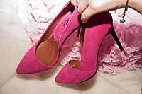 Женские туфли лодочки  с вырезами, натуральный замш. Возможен отшив в других цветах, фото 1