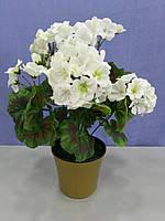 Герань(Калачик) белая искусственная в вазоне