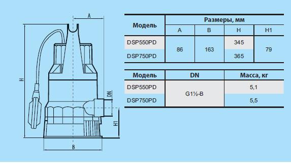 Бытовой дренажный насос «Насосы + Оборудование» DSP 550PD размеры