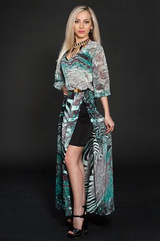 Стильное, красивое, нарядное, длинное летнее шифоновое платье 44-46, фото 2