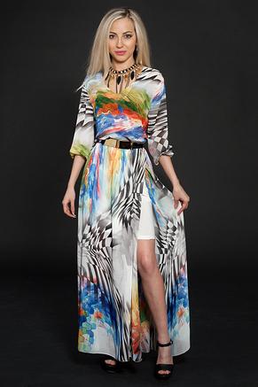 Стильное, красивое, нарядное, длинное летнее шифоновое платье , фото 3