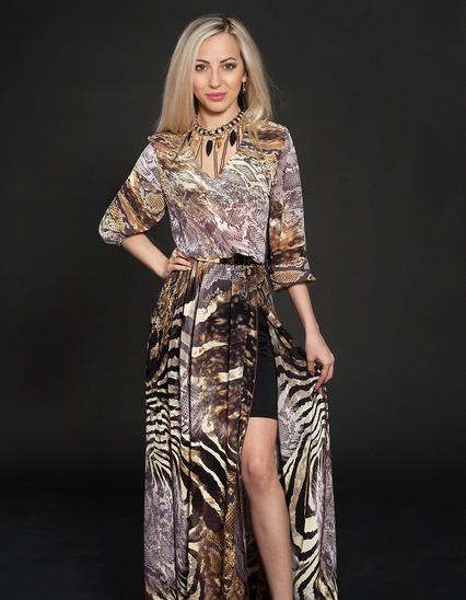 Стильное, красивое, нарядное, длинное летнее шифоновое платье 44-46