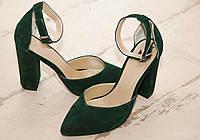 Женские туфли с обтяжным каблуком, натуральный замш. Возможен отшив в других цветах кожи и замша, фото 1