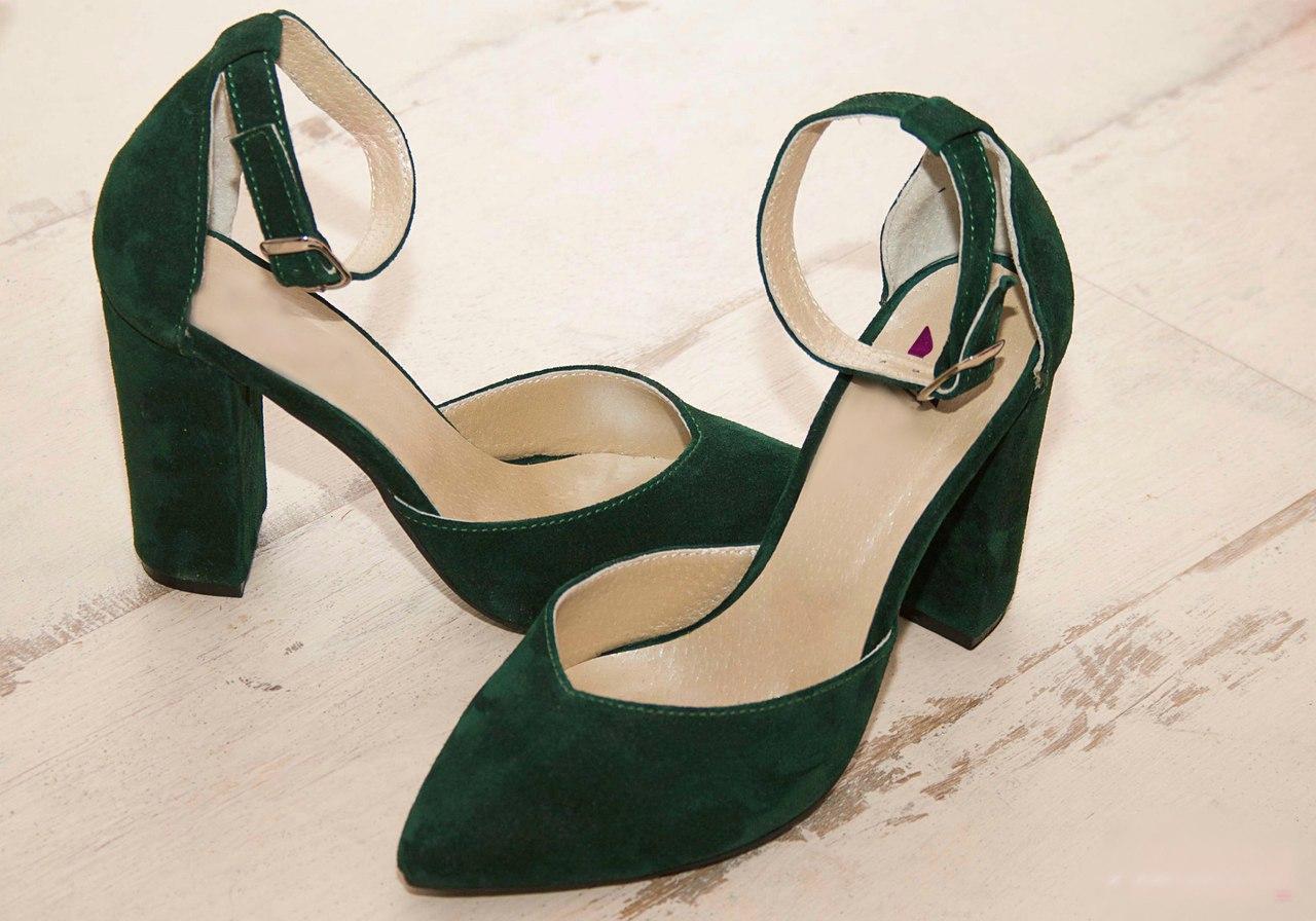 Женские туфли с обтяжным каблуком, натуральный замш. Возможен отшив в других цветах кожи и замша