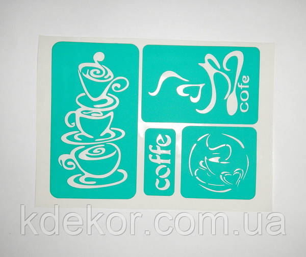 Чашки. Кофе Трафарет многоразовый самоклеющийся