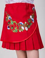 """Детская юбка для девочки с цветочной вышивкой """"Марися"""" красного цвета"""