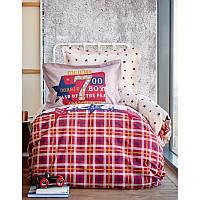 Постельное белье Karaca Home - Peace maroon бордо ранфорс подростковое