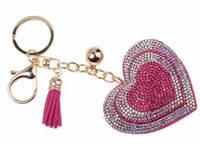 Замшевый брелок со стразами розовое сердце