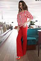 Красный костюм с топом в полоску
