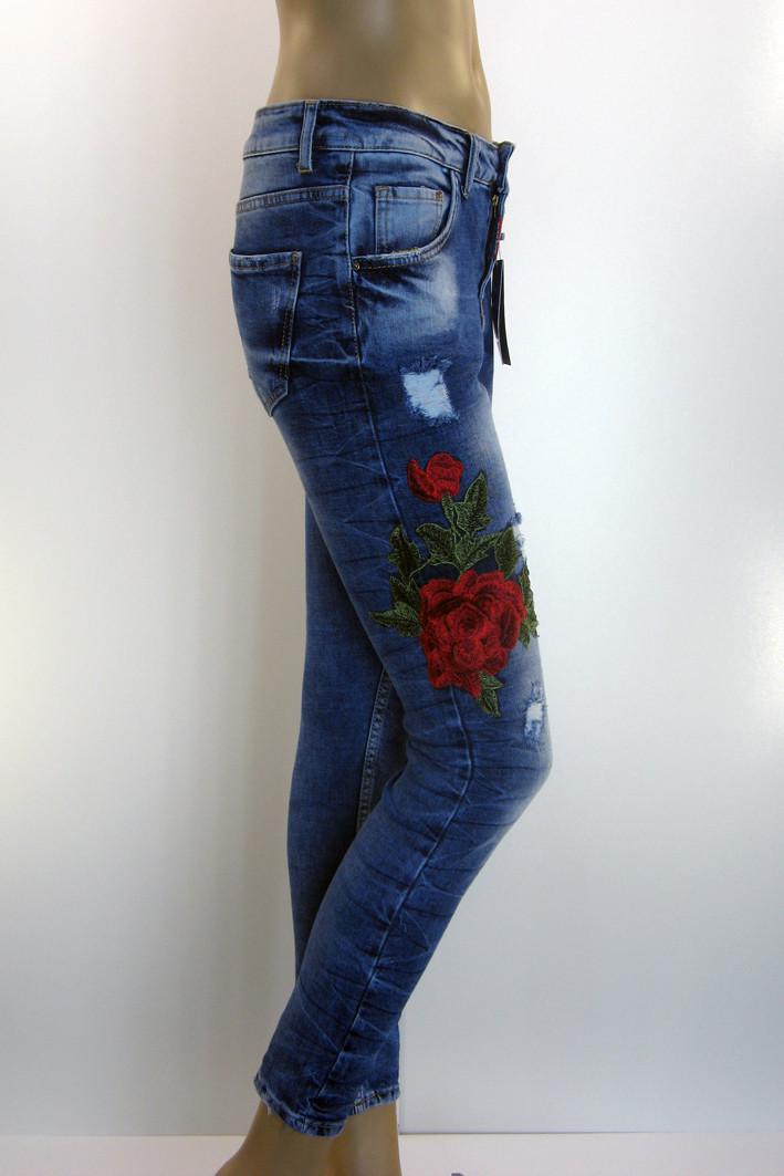 Жіночі легко рвані джинси з вишивкою Esquire - магазин ШАЛЕНА МОДА у Львові  Наукова 64 в 477404bb6fce4