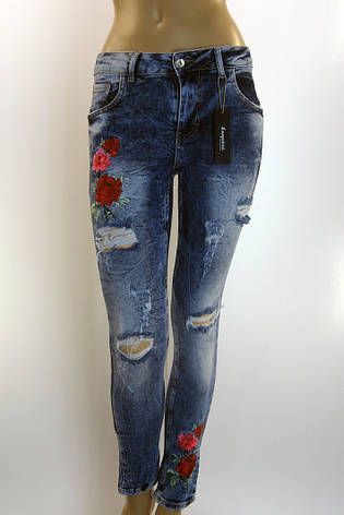 Жіночі рвані джинси з вишивкою  Esquire розпродаж, фото 2