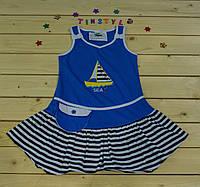 Летний сарафанчик Кораблик голубой  для девочки 1-6 лет