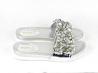 Серебристые шлепанцы женские Sopra, фото 1