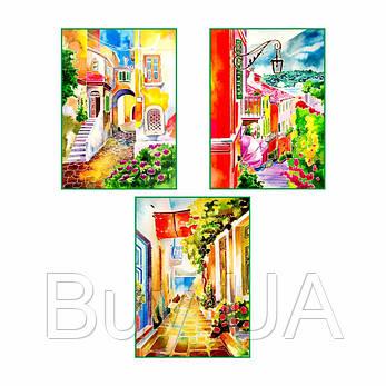 """Акварельний живопис """"Streets"""", 3 картини за контурами ROSA START, 30*40см, фото 2"""
