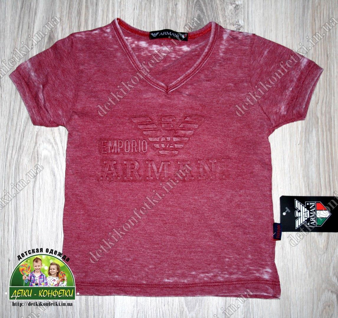 Стильная футболка для мальчика Armani бордовая