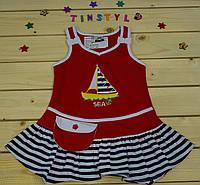 Летний сарафанчик Кораблик красный   для девочки на 1-3 года
