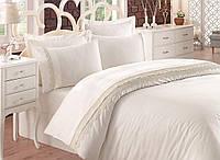 Набор постельного белья с кружевом  200х220 Cotton Box LINETTA EKRU