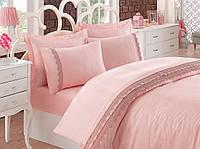 Набор постельного белья с кружевом  200х220 Cotton Box BELEZZA PUDRA