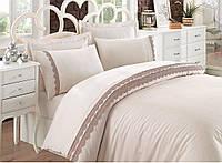 Набор постельного белья с кружевом  200х220 Cotton Box CAREN BEJ