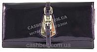 Стильный элитный прочный кожаный качественный женский кошелек art. S-05C 10 фиолетовый перламутр