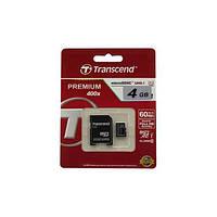 Карта памяти Transcend MicroSDHC 4GB Class 10 + SD адаптер Premium 400x!Акция