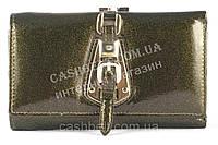 Небольшой элитный прочный кожаный качественный женский кошелек art. S-05B 09 оливковый перламутр