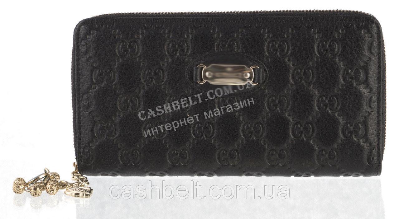Стильный элитный женский кожаный кошелек барсетка высокого качества art. G-2001 A черный