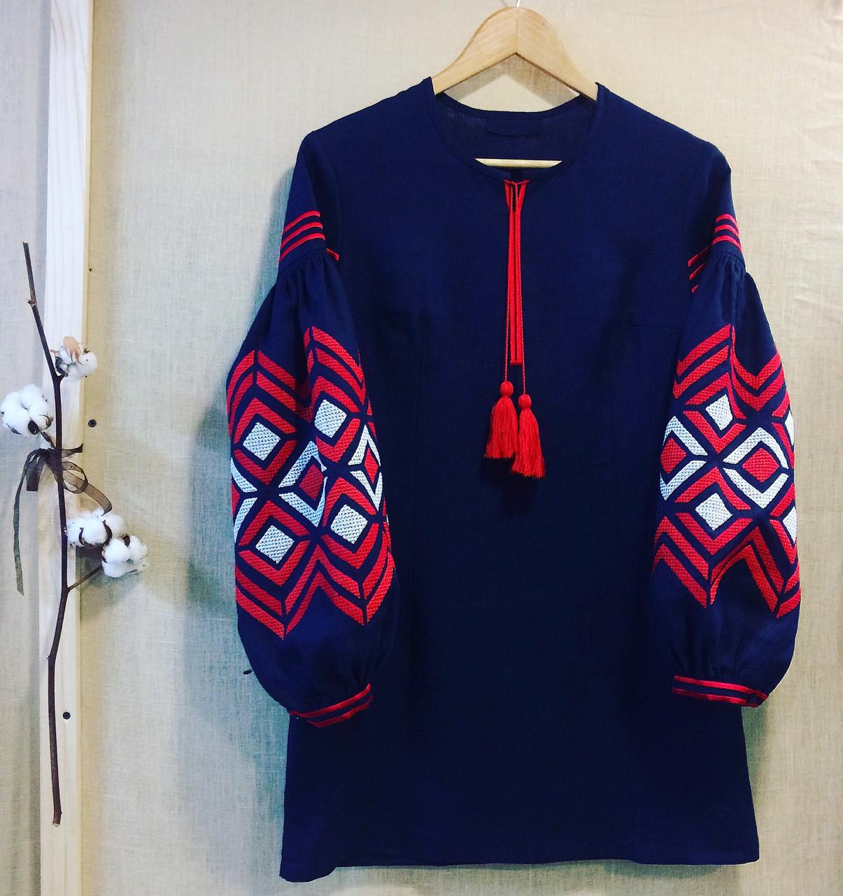 c44a961544bbd3 Вишиванка туніка темно-синій льон вишивка ромби : продажа, цена в ...