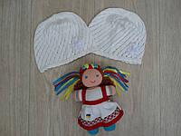 Летняя вязанная шапочка для девочки белая р.52-54