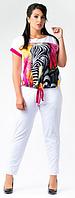 Летний женский брючный костюм большого размер   +цвета