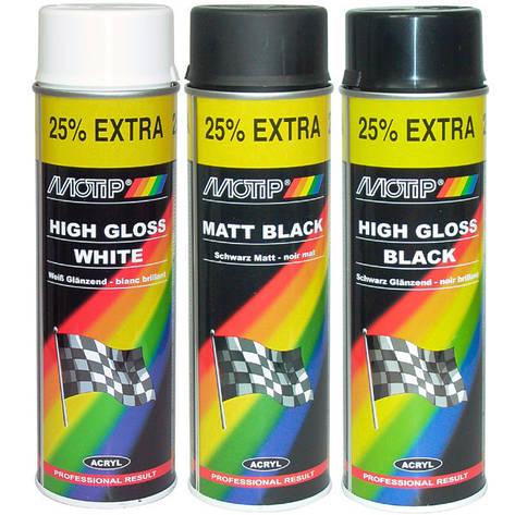 Краска акриловая черная глянцевая Motip 500 мл аэрозоль 04005, фото 2