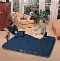 Двуспальный надувной матрас + ручной насос и 2 подушки Intex 68765