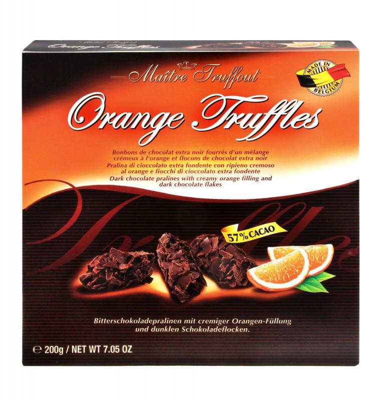 Черный трюфель с апельсином Maitre Truffout (57% какао), 200г