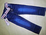 Классические синие джинсы для мальчика с ремнем 6-10 лет
