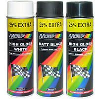 Краска белый глянец 9010 аэрозольная Motip 500 мл баллон