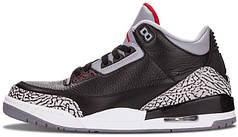 Мужские кроссовки Nike Air Jordan 3 Retro Black Cement 136064 001, Найк Аир Джордан 3