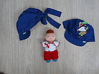 """Летняя панамка для мальчика  """"Мышонок"""" на завязках синяя р.48-54"""