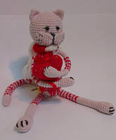 Детская Игрушка Кот вязаный крючком с сердцем в лапках, фото 1