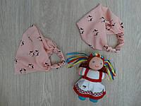 БАНДАНА-ПОВЯЗКА летняя для девочки Фламинго персиковая р.50-56