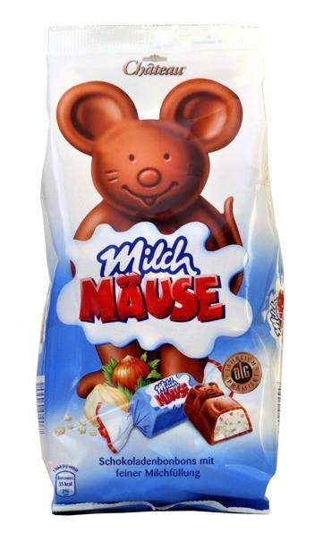 Шоколадные конфеты Chateau Milch Mause со сливочным кремом и орехами, 210гр