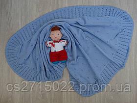Трикотажный детский плед, голубой